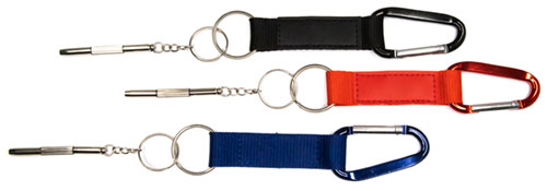 meinbrillenglas Karabiner Schlüsselanhänger mit Mini-Schraubendreher